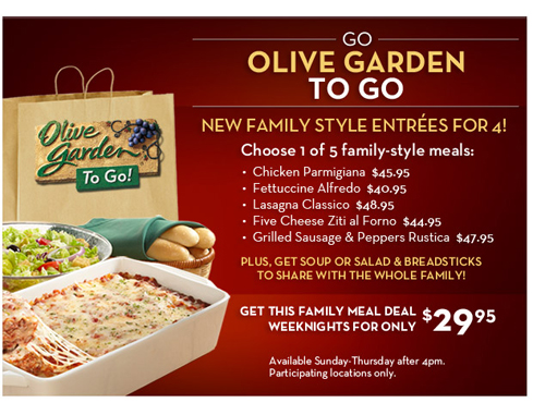 Olive Garden Weeknight Family Style Meals